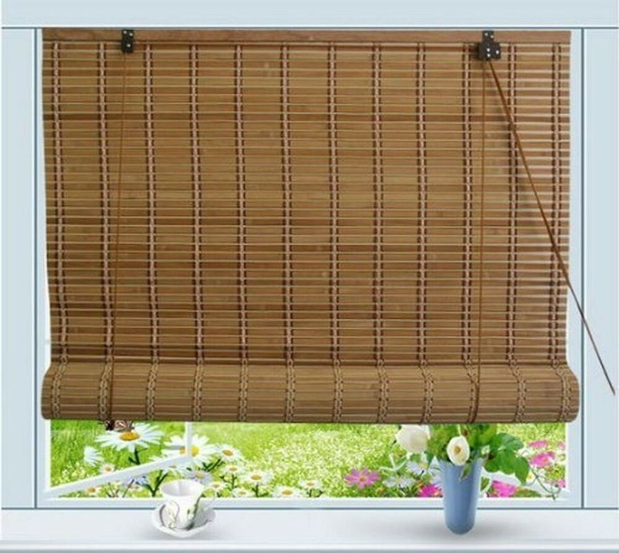 Elegant PVC Bamboo Roll Up Window Blind Customized Length Hotel Use